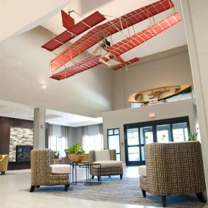 Hotel Lobby with model plane hanging from ceiling