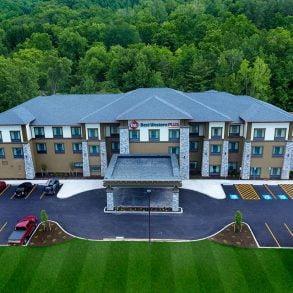 Drone Shot of The Hammondsport Hotel Exterior