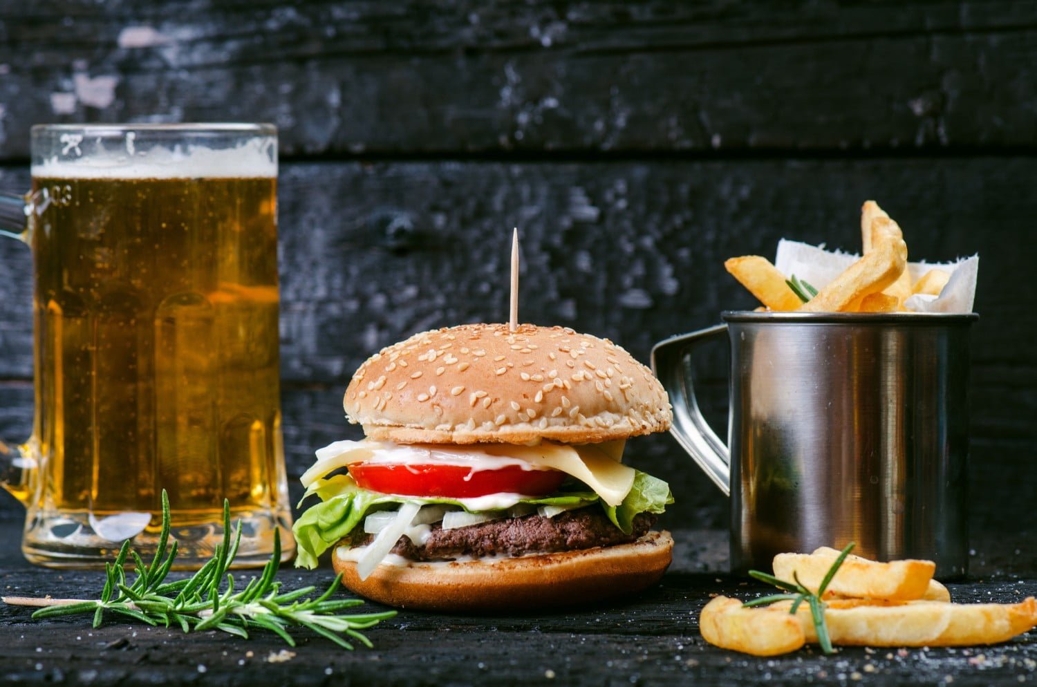 Burger, fries, and beer.