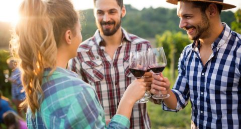 Group of friends at an outdoor wine tasting